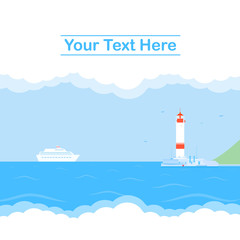 Vector illustration with cruise liner, sea and lighthouse. Background.