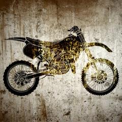 Graffiti, moto de cross sur un mur humide