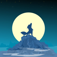 Halloween night background with mountains, wolf and moon. Vector illustration.