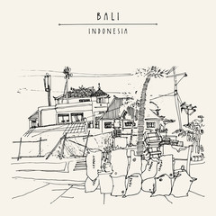 Balinese town near Jimbaran beach, Bali, Indonesia, Asia. Beach view. Hand drawing. Travel sketch. Book illustration, postcard or poster