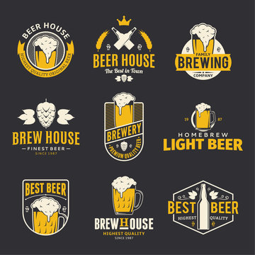 Vector color beer logo, icons and design elements