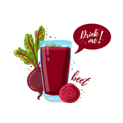 Design Template banner, poster, icons beet smoothies. Illustration of beet juice Drink me. Freshly squeezed vegetable beet juice for healthy life. A glass of juice in doodle cute style. Vector.