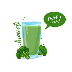 Design Template banner, poster, icons broccoli smoothies. Illustration of broccoli juice Drink me. Freshly squeezed vegetable broccoli juice for healthy life. Vector