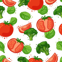 Seamless pattern with vegetable decoration. Wallpaper with a pattern of tomatoes, broccoli and spinach. Vegetable background is for cafes, restaurants, a fabric. Vector.
