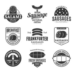 Vector sausage logo and design elements