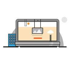 Line design laptop vector illustration. Web site building concep
