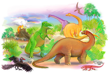 World of prehistoric animals. Illustration drawing on computer by graphic tablet.