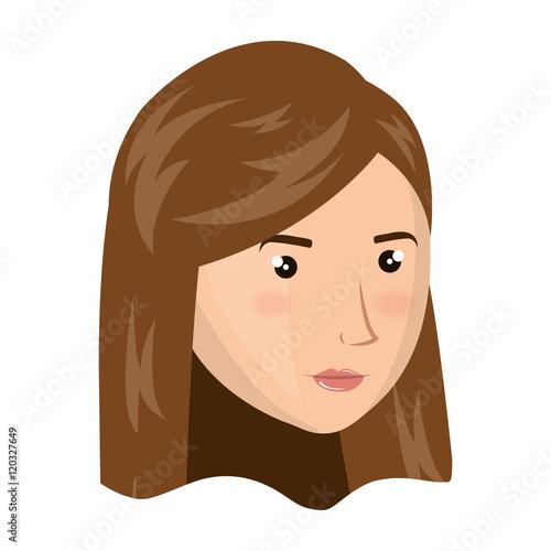 """Avatar 2 X 12: """"avatar Woman Face With Brown Hair Cartoon. Vector"""