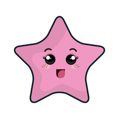 kawaii pink cartoon cute star shape with happy expression face. vector illustration