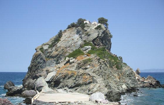 The chapel of St John (Mamma Mia) at Skopelos island in Greece