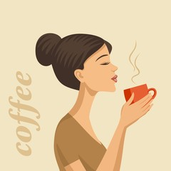 girl drinking coffee, coffee cup in hand
