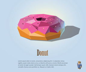 Vector polygonal illustration of Donut with pink cream on top, modern food icon design