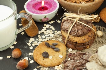 Mixed Cookies on wooden table. Homemade biscuits for breakfast. Food preparation.