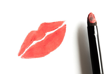 Drawing red lip by real lipstick