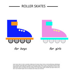 icon with the image of roller skates in two color variants. for boys and girls