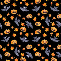 Halloween seamless pattern - pumpkin and bat. Cute naive watercolor