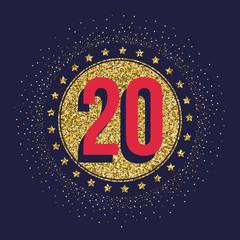 Twenty years anniversary celebration golden logotype. 20th anniversary gold logo.