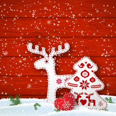 Christmas motive in scandinavian style, red and white folk decorations in front of wooden wall, illustration