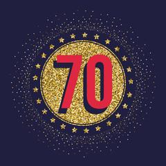 Seventy years anniversary celebration golden logotype. 70th anniversary gold logo.