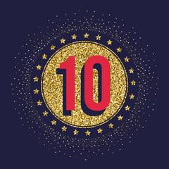 Ten years anniversary celebration golden logotype. 10th anniversary gold logo.
