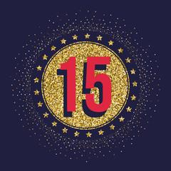 Fifteen years anniversary celebration golden logotype. 15th anniversary gold logo.