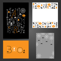 Set Of Halloween Greeting Cards, Flyers, party invitations.