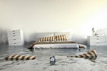 Überschwemmtes Schlafzimmer - Wasserschaden - Hochwasser