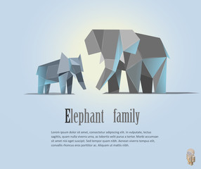 Geometric elephant family illustration in polygonal style.  low poly. Animal triangle icon. Modern isolated object