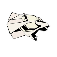Polar bear head vector illustration geometric