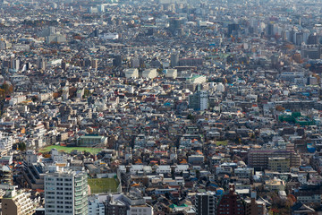 Aerial view,Tokyo residence over city downtown, Thailand