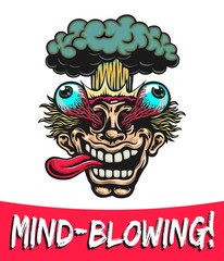 Mind-Blowing! Excited man head blowing up with eyes popping out and nuclear atomic explosion cartoon vector illustration