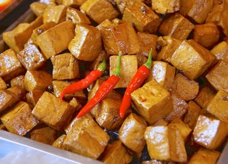 Cube stewed dried tofu closeup in Taiwan