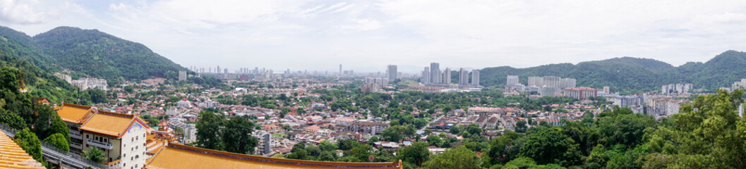 Panorama of Georgetown city on Penang island, Malaysia