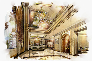 sketch perspective interior hall living -dinning into a watercolor on paper.