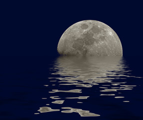 Moon reflections water