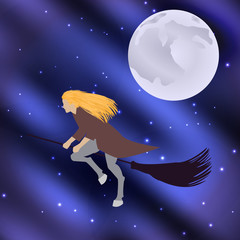 Vector illustration of a witch on a broomstick flying halloween holiday moon in the starry sky