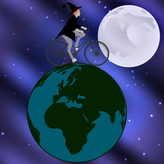 Vector illustration of a witch riding a bicycle across the globe on a moonlit night