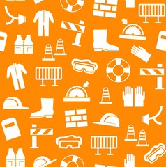 Occupational safety, personal security, background, seamless, orange. White flat icons of protective clothing and protective items on an orange background. Vector background.