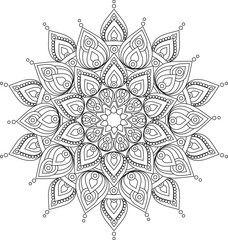 Hand drawn doodle ornate mandala illustration for coloring books