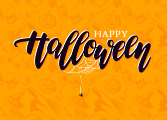 Happy Halloween vector lettering with detailed engraving backgro