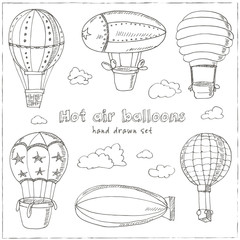 Hot Air Balloons doodle set. Vintage illustration