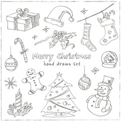 Doodle Christmas elements Vintage illustration for design