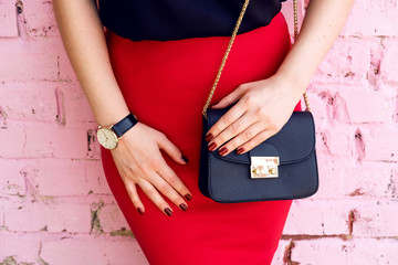 Wall Mural - woman with little black bag in stylish outfit