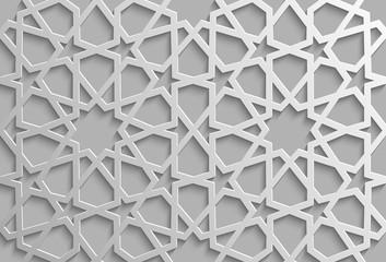 Seamless islamic pattern 3d . Traditional Arabic design element.