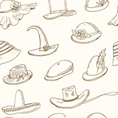 Doodle seamless pattern with different head wears on