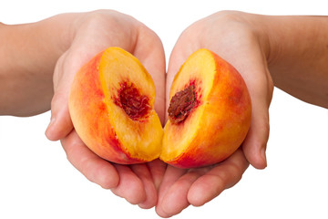 Peach halves in his hands