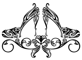 ornate shoe black and white vector design
