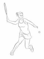 silhouette tennis player , vector drawing