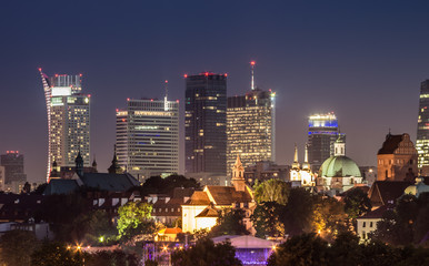 Night panorama of Warsaw downtown skyline in the night