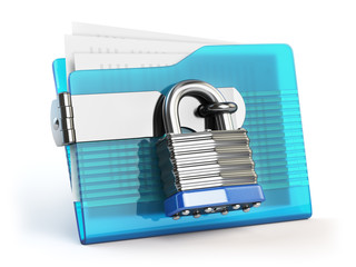 Folder and lock. Data and privacy security concept. Information